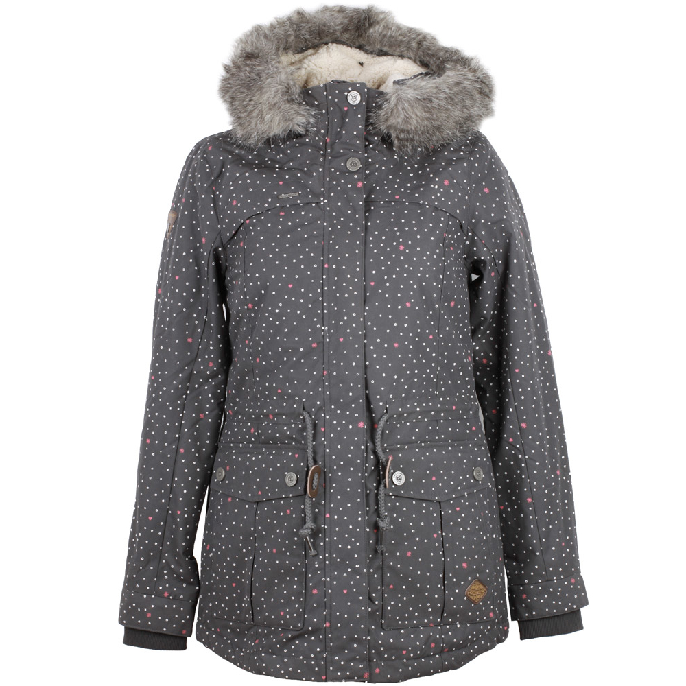 ragwear jewel hearts parka damen winterparka dark grey 103 90. Black Bedroom Furniture Sets. Home Design Ideas