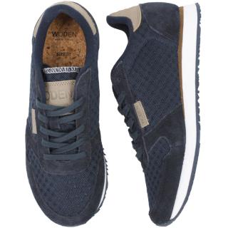 Woden Ydun Suede Mesh Sneaker Damen Schuh Navy blau