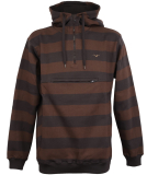 Cleptomanicx Stripe 3.0 Hooded Pullover Dark Chocolate