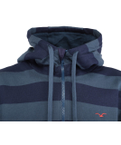 Cleptomanicx Hooded Stripe Pullover Blue Wing M